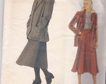 Vogue 1052 American Designer Perry Ellis Vintage Pattern Womens Jacket and  Flared Skirt  Size 6,8,10 UNCUT