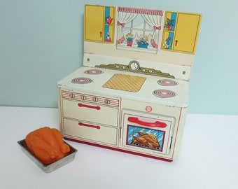 Rare Vintage Ohio Art Small Toy Play Stove, Metal with a Working Oven Door, Red Handle, Plastic Turkey & Tin Roasting Pan in the Oven