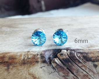 Get 15% OFF - 6mm Swarovski Crystal, Aquamarine Light Blue Silver Surgical Steel Post Earrings - Mother's Day SALE 2018