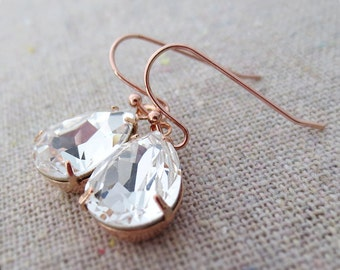 Swarovski Crystal Faux Diamond Teardrop Simple Delicate Dangling Rose Gold Bridal Earrings Wedding Jewelry Bridesmaids Gifts