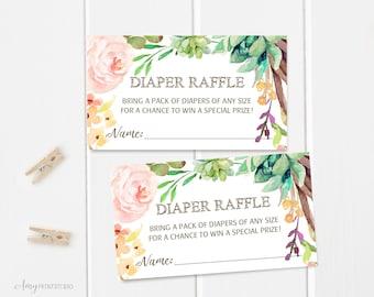 Diaper Raffle Tickets, Diaper Raffle Sign, Succulent Baby Shower Diaper Raffle Tickets, Digital file, #A05