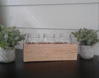 Mason jar holder, reclaimed wooden holder