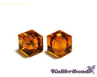 4x Swarovski 5601 Cube 4 mm - Topaz - Genuine Austrian Crystal