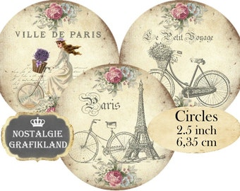 Bicycles Shabby Chic Velo Voyage Trip Circles 2.5 inch Instant Download printable digital collage sheet C201