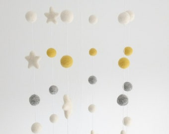 Felt Ball Baby Mobile  / Felt Ball Cot Mobile / Star Mobile / Nursery Decor  / Nursery Mobile / Crib Mobile / Mustard and Grey