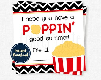 Hope You Have A Poppin' Good Summer Tag, End of School Year Tag, Last Day of School Gift Tag, Popcorn Gift Tag INSTANT DOWNLOAD