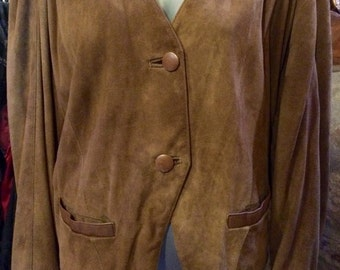 1980's short suede leather jacket. Size M/L.