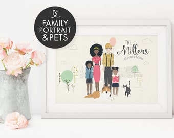 Family Portrait Custom, Family Portrait, Custom Portrait Illustration, New Home Housewarming Gift, Personalised Anniversary Gift for Husband
