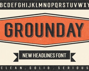 Grounday Typeface, Display Font, Sans Font, Headlines Font, Branding Font, Poster Font, Digital Font Download