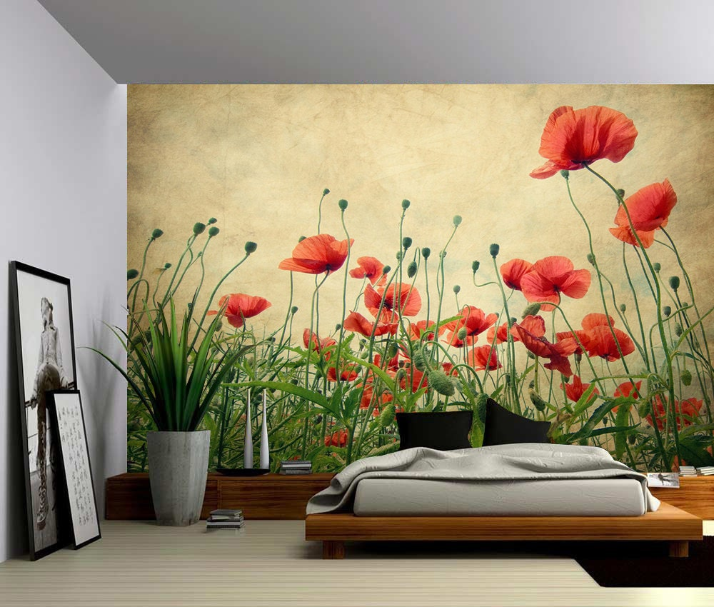 Red Poppies Large Wall Mural Self-adhesive Vinyl Wallpaper