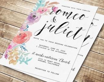 Floral Wedding Invitation, Floral wedding invite, Printable Digital Wedding Invite, Wedding invitation template, Wedding Flowers
