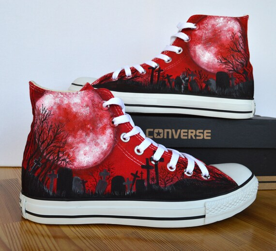 fetching how to design converse shoes at home. Adult Custom Hand Painted Converse Shoe  gothic blood moon graveyard