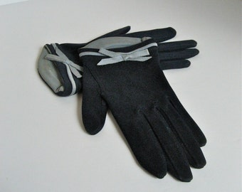 Vintage Navy Blue & Grey Tea Gloves // 1950s