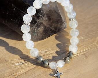 Grade AA Moonstone w Pyrite bracelet