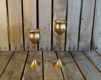 Brass Candle Holders, Vintage BrassFlower Candle Holders