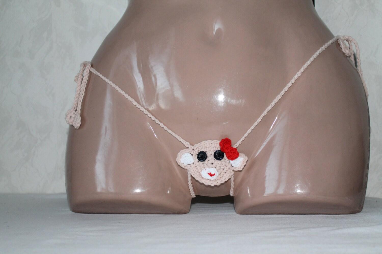 Monkey Thong erotic lingerie Monkey crochet g-string