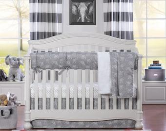 Elephant Bumperless Crib Bedding | Elephant Nursery | Tribal Nursery | Elephant Baby Bedding | Gender Neutral Baby Bedding