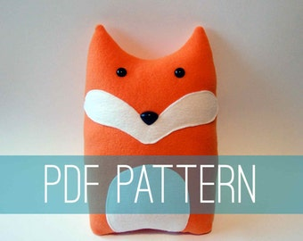 DIY Fox Pattern Woodland Pillow Plush - Fleece Fabric Animal Plushie - Do It Yourself Craft for Children and Adults - Make Your Own Toy