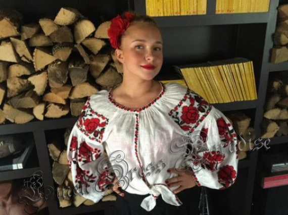 Pattern Ukrainian Linen Blouse Boho Ukrainian Linen Roses Style With Mexican Shirt Vyshyvanka Linen Embroidery Embroidered Shirt Clothing 8wqzZa