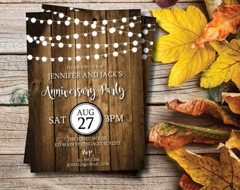 Rustic Anniversary Party | Anniversary Invitation | String Lights | Invite |  Anniversary | 25th | 30th | 40th | 50th | Wood