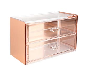 Metal Colorful Decorative Acrylic Organizer 2 drawers