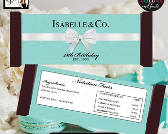 """Candy Bar Wrapper 25th birthday party favors, Breakfast at co blue labels Customizable 2 Per/Sheet 5.25x5.75"""" {Realistic Satin Ribbon}"""