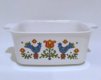 Corning Ovenware Country Festival Loaf Pan Blue Bird and Tulip
