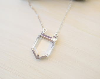 Sterling Silver Necklace Layering Necklace Simple Silver Necklace Crystal Necklace Quartz Necklace Quartz Necklace Modern Bridal Necklace