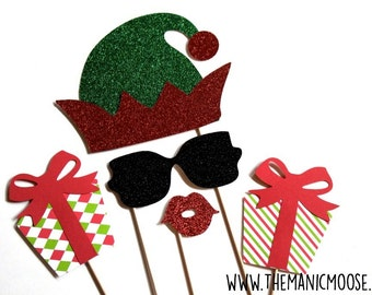 Christmas Elf Photo Booth Props ~ Set of 5 Props with Glitter ~ Christmas Photo Booth Props