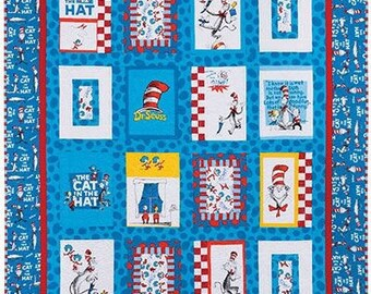 Dr. Seuss On The Loose Quilt - Baby Crib Toddler Lap Twin Size Bedding - Baby Shower Gift