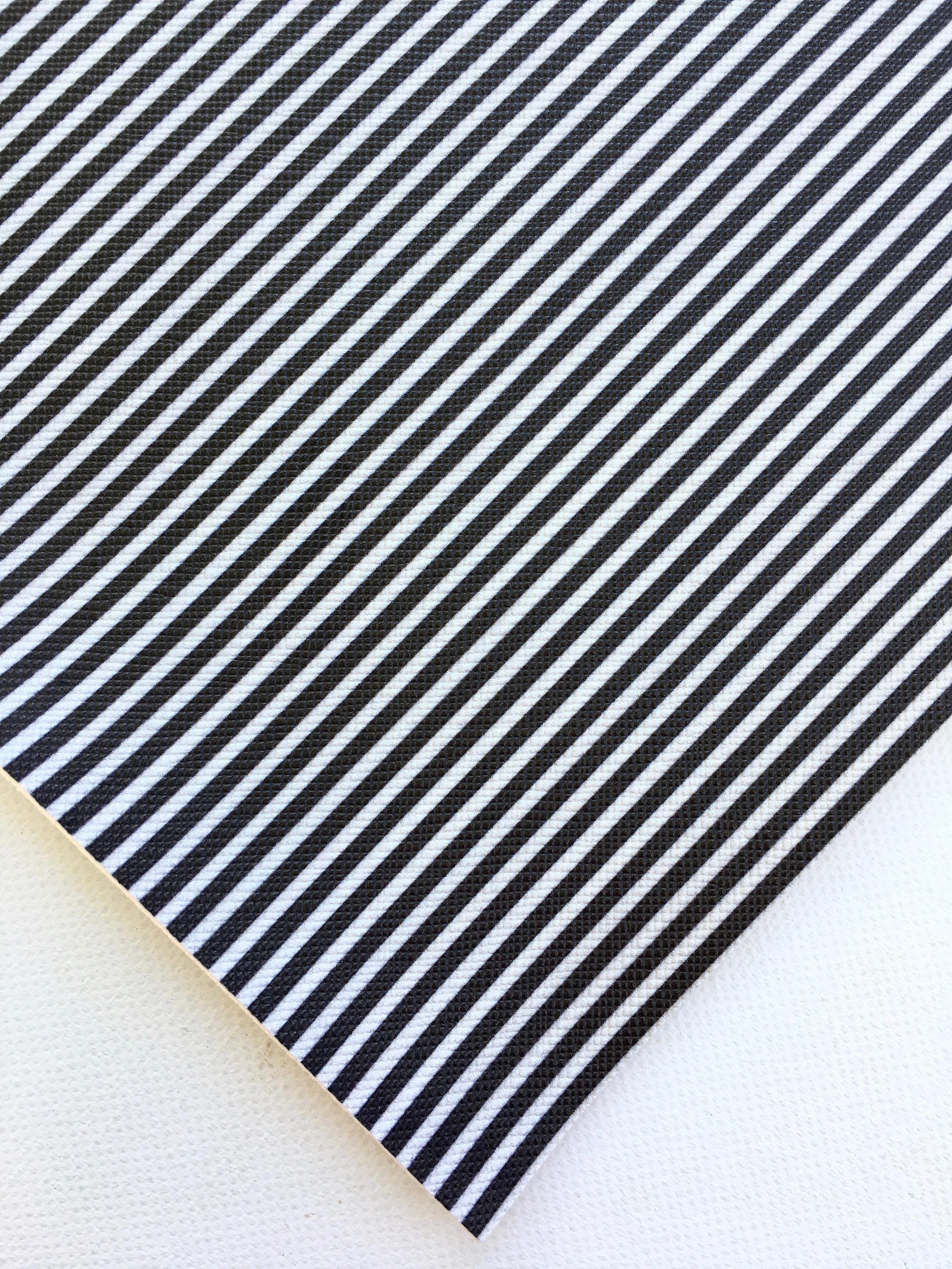 Black and White Striped Faux Leather Fabric