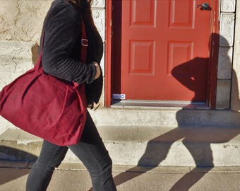 The Market Tote in Merlot Waxed Canvas - Ready to Ship
