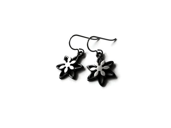 Black and silver flower dangle earrings - Hypoallergenic pure titanium and stainless steel