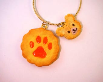Handmade paws and bear cookies keychain- polymer