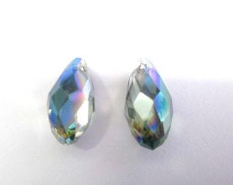 2 glass iridescent Crystal beads drop 16x8mm