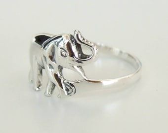 Sterling Silver Ring, Silver Elephant Ring, Silver Animal Ring, Silver Band Ring, Silver Ethnic Ring,