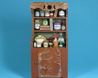 Collector Miniature 1:12 Scale  WITCH'S Cabinet, Cupboard, Full of Potions, Books, Spell Ingredients