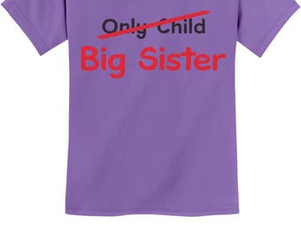 Only Child to Big Sister Gift Idea Youth Kids T-Shirt