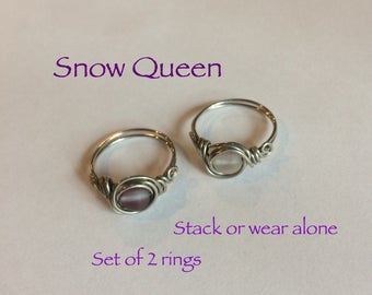 """Set of 2 """"Snow Queen"""" wire wrap rings, stackable or wear alone, handmade"""
