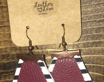 Leather Earrings, Double Layer