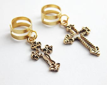 Cross Loc Cuff Dreadlock Loc Cuffs Christian Locs Jewelry Hair Accessories Dreadlocks Earcuffs Locs Jewellery Ear wrap gold tone