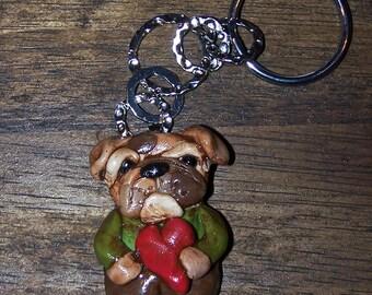 Folk Art Whimsical English Bulldog Key Chain Charm Pendant Ooak