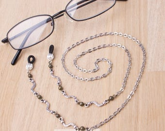 Silver and bronze glasses chain - wiggle link glasses chain | Eyeglasses accessories | Readers gift | Sunglasses holder | Eyewear neck cord