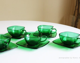 Fire King Charm Forest Green Teacup Set of 5