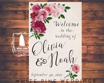 PRINTABLE Wedding Welcome Sign with Pink floral, Pink Peonies, Pink roses, Pink floral, Pink wedding, ivory, pink ombre, blush pink roses