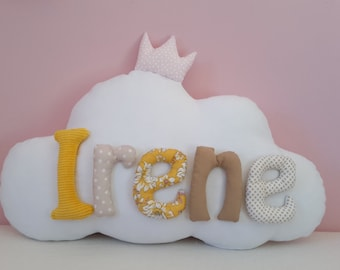 Pillow cloud personalized with name.