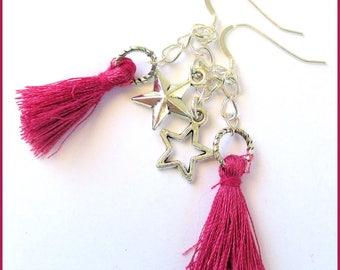 Fuschia Tassel Earrings, Funky Tassel Jewelry, 925 Silver Earrings, Star Charm Earrings, Hot Pink Earrings, Bohemian Gift for Her 2-1/4in