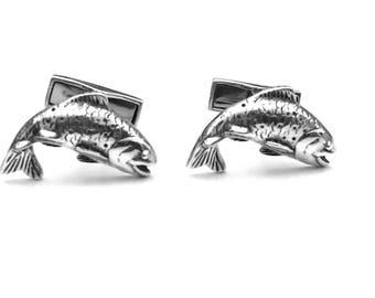 Sterling Silver Salmon Cuff links, Salmon Cuff Links, Fishing Cuff Links, Wedding Cuff Links, Father's Day, Graduation Gift