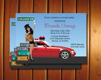 Graduation Trunk Party Invitations - Printable Graduation Announcement for College