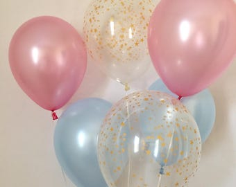 Pink Blue and Gold Star Latex Balloons~Twinkle Twinkle Little Star Baby Shower~ Twinkle Little Star Gender Reveal~How We Wonder What You Are